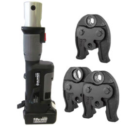 The Zupper PZ-1930 battery press tool kit with interchangeable jaws for pressing most pipe systems in Australia,